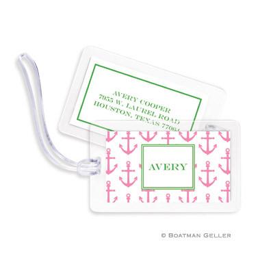 Anchors Pink Laminated Bag Tag