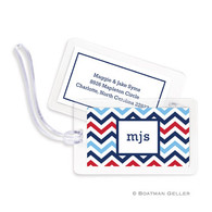 Chevron Blue & Red Laminated Bag Tag