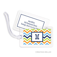 Chevron Blue Orange & Lime Laminated Bag Tag