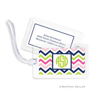 Chevron Pink Navy & Lime Laminated Bag Tag