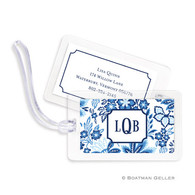 Classic Floral Blue Laminated Bag Tag