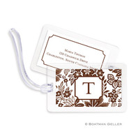 Classic Floral Brown Laminated Bag Tag