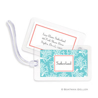 Coral Repeat Teal Laminated Bag Tag
