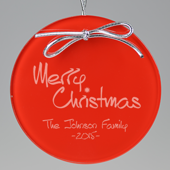 Merry Christmas Circle Ornament - Red
