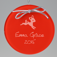 Baby Deer Circle Ornament - Red