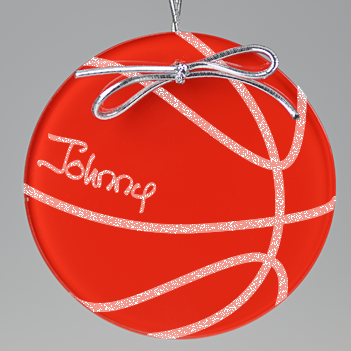 Basketball Circle Ornament - Red