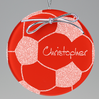 Soccer Circle Ornament - Red