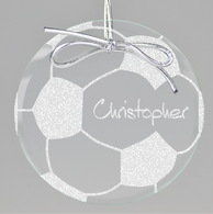 Soccer Circle Ornament - Clear