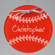 Baseball Circle Ornament - Red