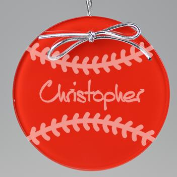 Baseball Circle Ornament - Red