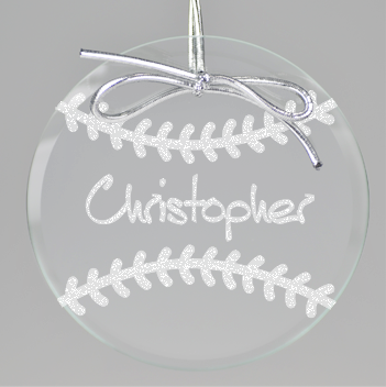 Baseball Circle Ornament - Clear