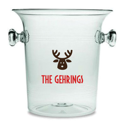 Personalized Reindeer Holiday Lucite Champagne Cooler
