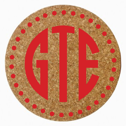 Personalized Cork Trivet with Circle Monogram, Red Heat Press
