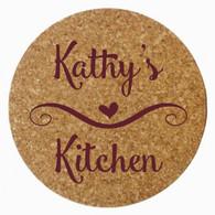 Personalized Kitchen Cork Trivet, Maroon Heat Press