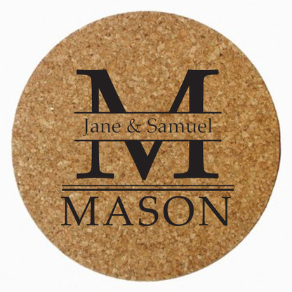 Personalized Mason Cork Trivet, Black Heat Press