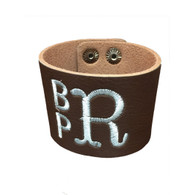 Personalized Brown Leather Cuff