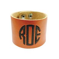 Personalized Orange Leather Cuff