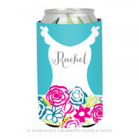 Personalized Formal Bride Koozie in Aqua