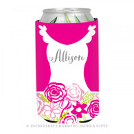Personalized Formal Bride Koozie in Hot Pink