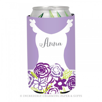Personalized Formal Bride Koozie in Lilac