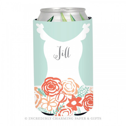 Personalized Formal Bride Koozie in Mint