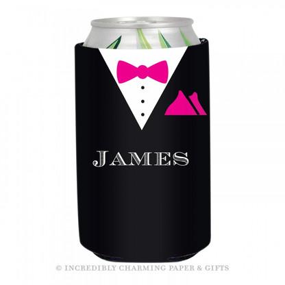 Personalized Formal Groom Koozie in Hot Pink