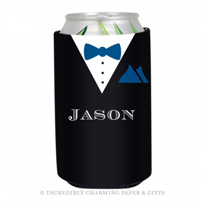 Personalized Formal Groom Koozie in Navy