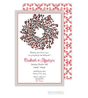 Berry Wreath on White Holiday Invitation