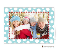 Funky Dot Aqua Folded Digital Holiday Photo Card