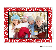 Swirls & Whirls Red Folded Digital Holiday Photo Card