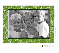Floral Fancy Evergreen Folded Digital Holiday Photo Card