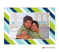 Preppy Stripe Blue Folded Digital Holiday Photo Card