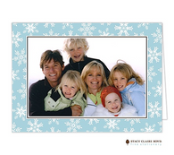 Fanciful Snowflakes Blue Folded Digital Holiday Photo Card