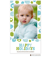 Funky Merriment Blue Flat Digital Holiday Photo Card