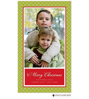 Holiday Lattice Green Flat Digital Holiday Photo Card