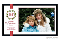 Festive Family Initial Flat Digital Holiday Photo Card