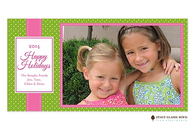Jolly Holiday Pink Flat Digital Holiday Photo Card