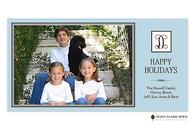 Seasonal Simplicity Blue Flat Digital Holiday Photo Card