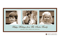 Three's A Charm Blue Flat Digital Holiday Photo Card