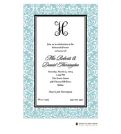 Vintage Damask Blue Invitation