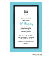 Dots Around Aqua Invitation - Birthday Cake