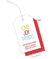 Love Joy Peace Personalized Holiday Hanging Gift Tag