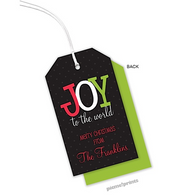 Joy to the World Personalized Holiday Hanging Gift Tag
