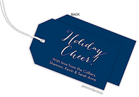 Navy  Horizontal Personalized Holiday Hanging Gift Tag