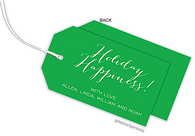 Emerald Horizontal Personalized Holiday Hanging Gift Tag