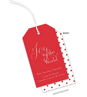Poppy Dots Vertical Personalized Holiday Hanging Gift Tag
