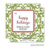 Holiday Grande Floral Cilantro Personalized Holiday Enclosure Card