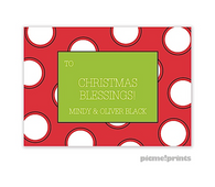 Big Ol Merry Dots Poppy Personalized Holiday Enclosure Card