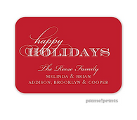 Solid Ruby Rounded Personalized Holiday Enclosure Card