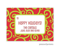 Holiday Swirls Chartreuse Personalized Holiday Sticker